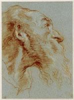 Giovanni Battista (Giambattista) Tiepolo (Venezia 1696 – Madrid 1770). Studio di una testa d'un uomo con barba, di profilo, rivolto a destra, ca. 1753. Sanguigna; tracce di matita bianca, a tratti leggermente sfumata su carta azzurra. Klassik Stiftung Weimar, Musei, Dipartimento di arti grafiche