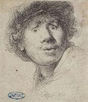 Rembrandt, Autoritratto con gli occhi stralunati, 1630