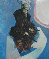 Giuseppe Zigaina, Mio padre che ascolta, 1982. olio su tela, cm 120 x 100