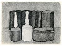 Giorgio Morandi: Natura morta con nove oggetti, 1954, Acquaforte, mm 180 x 250 . Bologna, Museo Morandi