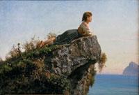 Filippo Palizzi: Fanciulla sulla roccia a Sorrento, olio su tela, cm 55x80. Fondazione Internazionale Balzan, Milano