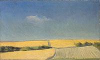 Gérard de Palézieux, Paysage avec champ de blé, 1941 - olio su tela, 34.2 x 19.8 cm - Musée Jenisch Vevey
