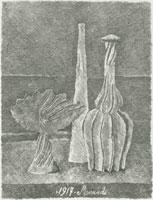 Giorgio Morandi, Natura morta con compostiera, bottiglia lunga e bottiglia scannellata, 1928, Acquaforte, mm 234 x 182,Bologna, Museo Morandi