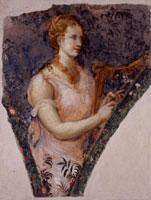 Nicolò dell'Abate, Tempere con suonatori e suonatrici, dal camerino del Paradiso, tempera su muro trasportata su tela, cm 98 x 74 circa, Modena, Galleria Estense
