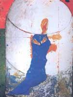 Annunciazione in giardino, 1994-95, smalto, tempera, carboncino, acrilico e carta su tela, cm 260x390 (2 tele)
