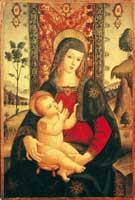 Madonna con il Bambino in trono in un paesaggio España Colección
