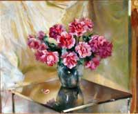 Giacomo Balla: Rose ardenti, 1938 olio su tela cm, 81x99. Collezione Terrazzi
