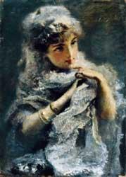 Daniele Ranzoni Giovinetta inglese, 1886 olio su tela, 50x36,5 cm, Collezione privata