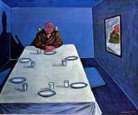 Giuseppe Migneco: Gli ospiti non vengono più, 1981, olio su tela cm 83x100, coll. privata