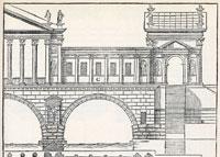 Secondo progetto per il Ponte di Rialto, part., xilografia da: Andrea Palladio I Quattro Libri dell'Architettura, 1570