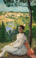Bazille,Frédéric: Veduta del villaggio, 1868 olio su tela, cm 157 x 107. Montpellier, Musée Fabre