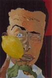 Francesco Clemente, Senza titolo (Autoritatto con limone), 1980, 29,50x20, olio su tela