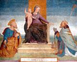 Bernardino Ferrari, Madonna in trono tra i santi Pietro e Ambrogio, affresco staccato,1515 Vigevano, Cassa di Risparmio di Parma e Piacenza