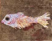 Gianna Moise, Pesce, olio su cartone trattato con acrilico, resine e smalti, 94x118 cm, 2009