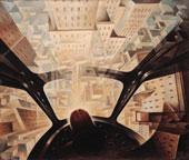 Tullio Crali, Incuneandosi nell'abitato, 1938, olio su tela