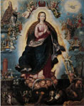 "Scuola Novohispana, ""Nuestra Señora de la Asunción"", XVIII sec., olio su tela, cm. 175.5x128.7. Museo della Basilica di Guadalupe, Città del Messico"