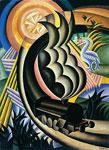 Fortunato Depero: Il treno, 1926 olio su tela, cm. 87 x 64. Cà la Ghironda