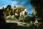 Philipp Peter Roos detto Rosa da Tivoli (1657-1706), Paesaggio nella Campagna Romana, olio su tela, Collezione privata