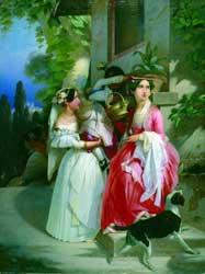 Émile Jean Horace Vernet (1789-1863), Giovani donne in costume di Ariccia e di Nettuno presso un'edicola, sullo sfondo di Ariccia, olio su tela, Collezione privata