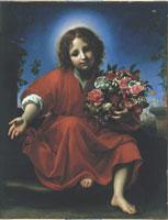 Carlo Dolci: Gesù Bambino con una ghirlanda di fiori