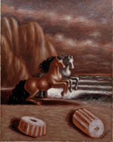 Giorgio De Chirico, Cavalli in riva al mare, 1930, Olio su tela, 70x55 cm