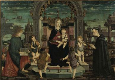 Maestro della pala Bertoni: Madonna con il Bambino, san Giovanni Evangelista, il beato Jacopo Filippo Bertoni e quattro angeli, tavola, 136,5 x 200 cm