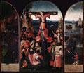 Hieronymus Bosch, Trittico di santa Liberata, a) Sant'Antonio; b) Martirio di santa Liberata; c) I viandanti e il porto, 1505, olio su tavola, a cm 105 x 27,5, b cm 105 x 63, c cm 105 x 28