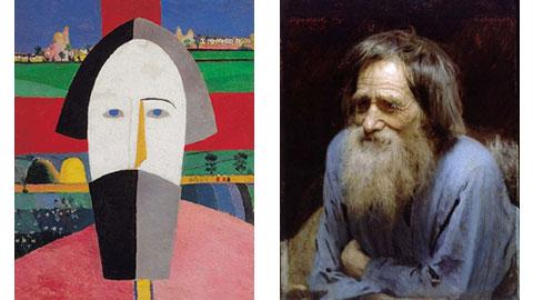 Kazimir Malevich. Testa del contadino. 1928-1929 olio su multistrato - Ivan Kramskoj. Mina Moiseev. 1882. Olio su tela