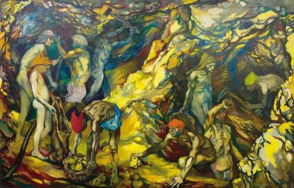 Renato Guttuso, La zolfara, 1953, olio su tela, cm 201,5 x 311, Museo d'Arte Moderna Mario Rimoldi - Regole d'Ampezzo