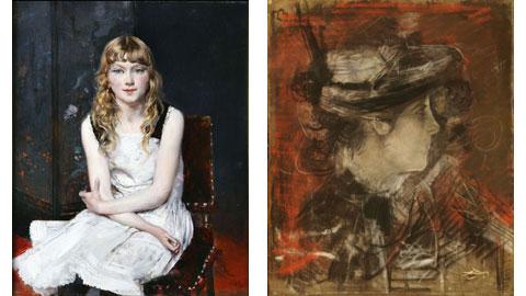 Giovanni Boldini, Ritratto di Irene Catlin Bottegantica e Testa di donna su fondo rosso Bottegantica