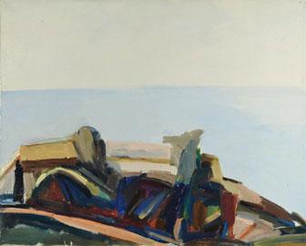 Arnaldo Ciarrocchi: Paesaggio dell'Asola, 1974 olio su tela, cm 40 x 50 collezione privata