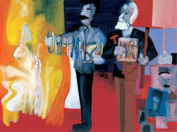 Marco Cingolani, Bernadette contro NIETZSCHE E MARX, 2008, 150x200 cm, Courtesy Galleria Box Art, Verona
