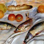 Giorgio De Chirico, natura morta con pesci, 1930