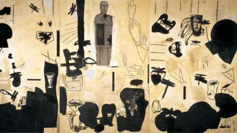 Mimmo Paladino, Senza titolo, tecnica mista su tavola, cm 300 x 600, 1999