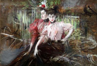 Giovanni Boldini, Giovani donne sedute, 1904 ca., Olio su tavola, cm 26,7x34,9, collezione privata