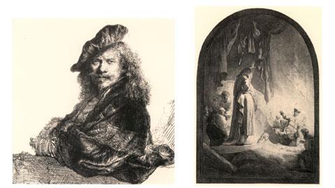 Rembrandt, Autoritratto affacciato su un davanzale in pietra, 1639, acquaforte, 205 x 164 mm e Resurrezione di Lazzaro, 1632 c., acquaforte e bulino, 366 x 258 mm