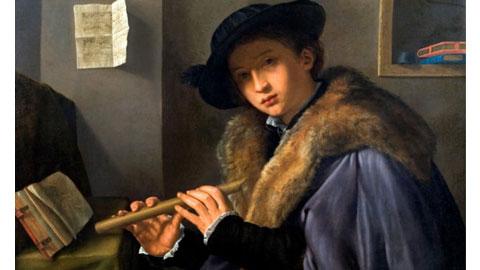 Giovanni Gerolamo Savoldo, Ritratto di giovane uomo con flauto 1525 - circa olio su tela, cm 74 x 100, Roma, UniCredit Group-Artistic and Cultural Advisory, Unicredit Spa