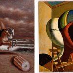 Giorgio De Chirico, Cavalli in riva al mare, 1930, Olio su tela, 70x55 cm - Le maschere, 1973, Olio su tela, 50 x 40 cm