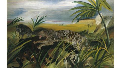 Antonio Ligabue: Leopardo con bufalo e iena, olio su tela cm 83 x126