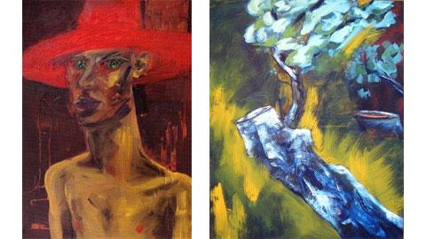 Self with Red Hat, 1985, olio su tela 213x152 cm e Bernd Zimmer, Olivenhain II, 1984, 160x130 cm