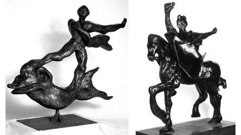 """Salvador Dalì, """"Uomo sul delfino"""" e """"Traiano a cavallo"""""""