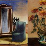 Giorgio De Chirico, Mobili nella valle, 1927, Olio su tela 82x100 cm - Vaso di Crisantemi, 1912, Olio su tela, 73x60 cm