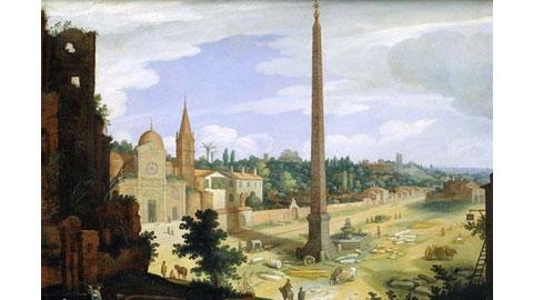 Van Nieulandt Willem, Veduta di Piazza del Popolo, olio su tavola, sec. XVII primo quarto, 1600-1625