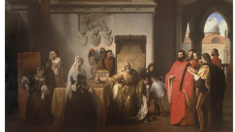Francesco Hayez, Francesco Foscari destituito (I due Foscari), 1842-1844, Olio su tela, cm 230 x 305, Milano, Pinacoteca di Brera
