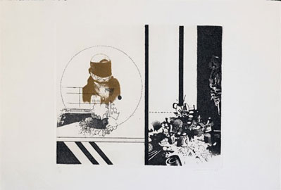 Gianfranco Ferroni, Contemporaneamente, 1968, acquaforte, acquatinta su rame, colore nero, terra di Siena, mm 1246x290