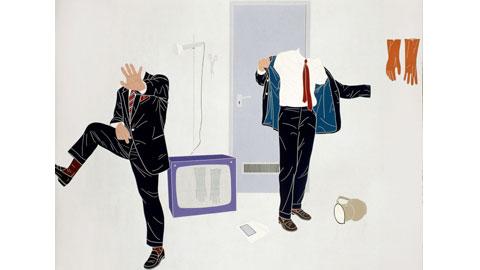 Emilio Tadini, La camera afona (esterno), 1969, acrilici su tela, cm 200 x 240, Courtesy Fondazione Marconi, Milano