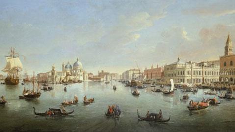 Gaspar van Wittel, detto Vanvitelli, Venezia, il bacino di San Marco verso il Canal Grande, olio su tela, courtesy Galleria Lampronti, Roma