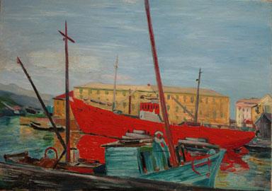 Aligi Sassu, Il porto e la barca, 1956, olio su tela 49,8x70