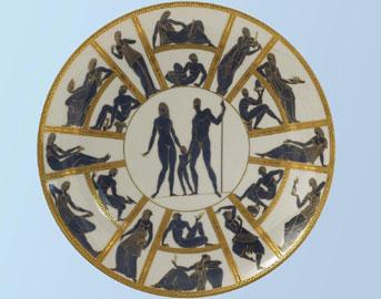 Gio Ponti: I progenitori, 1923 piatto, porcellana policroma