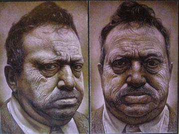 Andrea Martinelli, Grande volto di uomo (dittico), 2006, olio su tavola 240x180 cm
